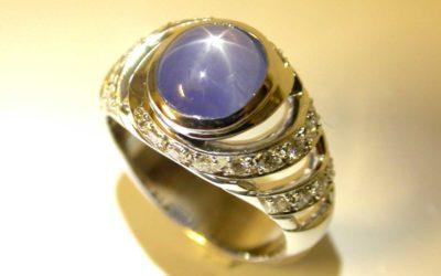 Réalisation d'une bague en blanc, diamants et saphir étoilé.  Selon la technique de la cire perdue.